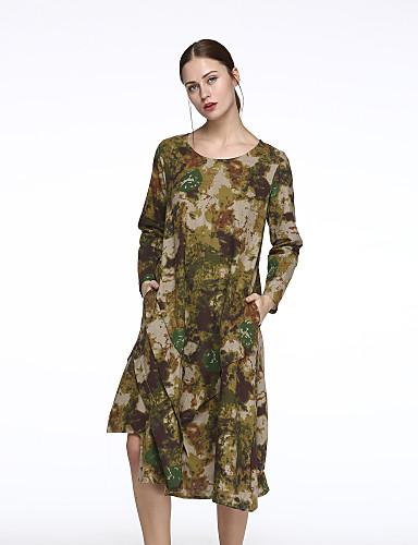 Žene Kinezerije Pamuk / Lan Širok kroj Haljina Cvjetni print / Color block Asimetričan / Proljeće