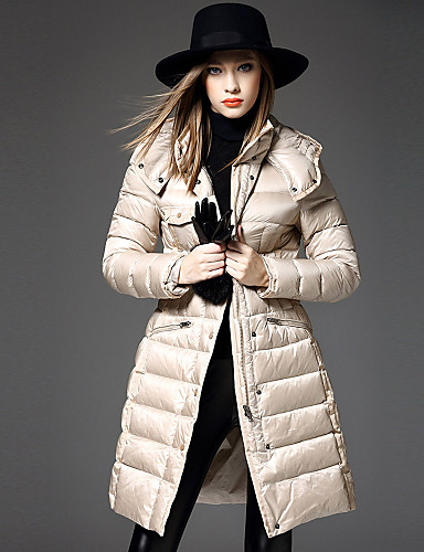 女性用 ソリッド カジュアル/普段着 シンプル ダウン 長袖 フード付き 冬