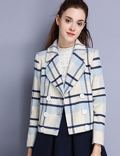 Damen Gestreift Einfach Lässig/Alltäglich Mantel,Winter Gekerbtes Revers Langarm Weiß Wolle Polyester