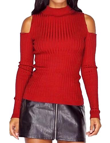 Damen Standard Strickjacke-Lässig/Alltäglich Einfach Solide Rundhalsausschnitt Langarm Polyester Winter Mittel Dehnbar