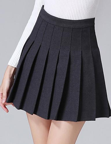 Damen Schaukel Röcke - Solide, Gefaltet