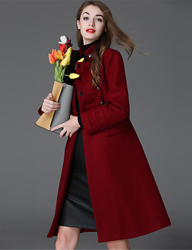 Damen Solide Einfach Lässig/Alltäglich Mantel,Herbst Winter Hemdkragen Langarm Rot Dick Wolle Polyester