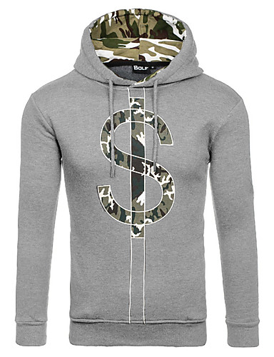 Men's Sports Going out Daily Casual Street chic Punk & Gothic Hoodie Solid Print 3D Print Hooded Micro-elastic Cotton Long Sleeve