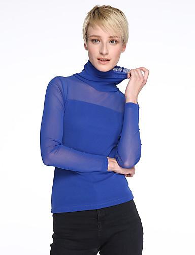 Veći konfekcijski brojevi Bluza Žene Jednobojni Uski okrugli izrez Čipka Mrežica Pamuk Umjetna svila