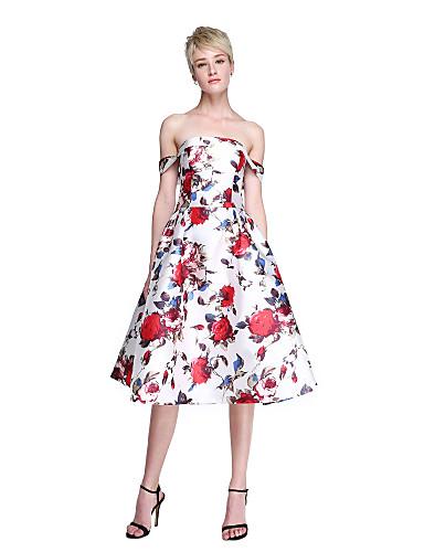 A-linje Løse skuldre Knelang Sateng Cocktailfest / Ball / Skoleball Kjole med Plissert av TS Couture®