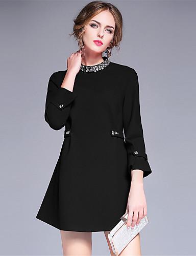 Damen A-Linie Kleid-Lässig/Alltäglich Einfach Solide Rundhalsausschnitt Mini Kunstseide Nylon Elasthan Herbst Winter Hohe Hüfthöhe