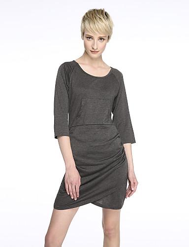 Kadın Günlük/Sade Seksi Bandaj Elbise Solid U Yaka Mini Polyester Sonbahar Normal Bel Mikro-Esnek İnce