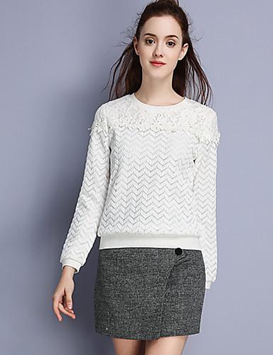 Damen Pullover Lässig/Alltäglich Einfach Solide Rundhalsausschnitt Unelastisch Polyester Langarm Herbst