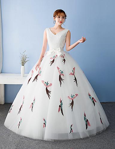 Ballkleid V-Ausschnitt Boden Länge Tüll Jersey formales Abendkleid mit Bogen (s)