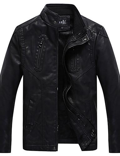 男性 カジュアル/普段着 冬 ソリッド ジャケット,シンプル スタンド ブラック ポリウレタン 長袖 厚手
