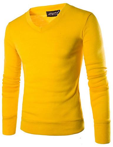 Herre Langermet Pullover - Ensfarget V-hals