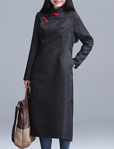 Damen Hülle Kleid-Lässig/Alltäglich Chinoiserie Solide Bateau Maxi Langarm Schwarz Polyester Herbst Mittlere Hüfthöhe Unelastisch Mittel