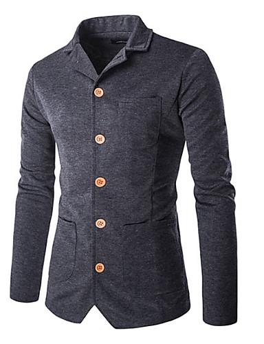 Herren Solide Einfach Ausgehen Lässig/Alltäglich Blazer,Gekerbtes Revers Herbst Winter Lange Ärmel Standard Baumwolle