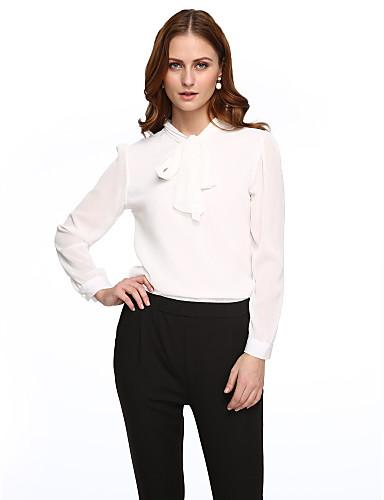 여성용 솔리드 셔츠 카라 블라우스 폴리에스테르 리본