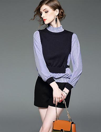 Damen Gestreift Anspruchsvoll Ausgehen Lässig/Alltäglich Formal Hemd,Rollkragen Frühling Langarm Schwarz Polyester Mittel