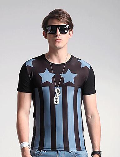 Herren Solide Geometrisch Einfach Urlaub T-shirt,Rundhalsausschnitt Frühling Sommer Kurzarm Braun Kunstseide Mittel