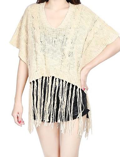 Damen Standard Mantel / Capes-Lässig/Alltäglich Einfach Solide Beige Schwarz V-Ausschnitt ½ Länge Ärmel Acryl Herbst Winter Mittel