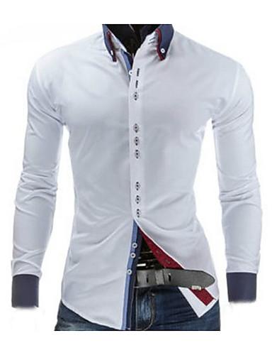 Herren Solide Freizeit Ausgehen Arbeit Hemd,Hemdkragen Frühling Langarm Baumwolle Mittel