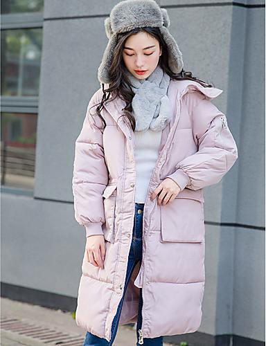 Damen Daunen Mantel,Lang Street Schick Lässig/Alltäglich Solide-Baumwolle Weiße Entendaunen Langarm Rosa Asymmetrisch