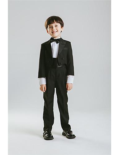 Schwarz Baumwolle Polyester/Baumwollmischung Ring-Träger Anzug - 5 Enthält Jacket Hose Schärpe Fliege Hemd