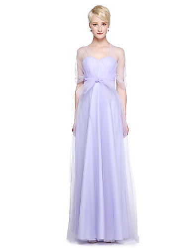 A-Line V Neck Floor Length Tulle Bridesmaid Dress with Ruffles Side ...
