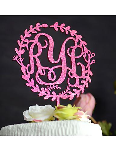 Kakepynt Personalisert Klassisk Par Monogram Harpiks Akryl Krom Bryllup Jubileum Utdrikkingslag Rosa GulHage Tema Blomster Tema Klassisk