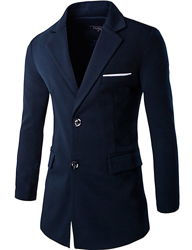 Herren Solide Einfach Lässig/Alltäglich Mantel,Winter Hemdkragen Langarm Blau Grau Gelb Mittel Nylon