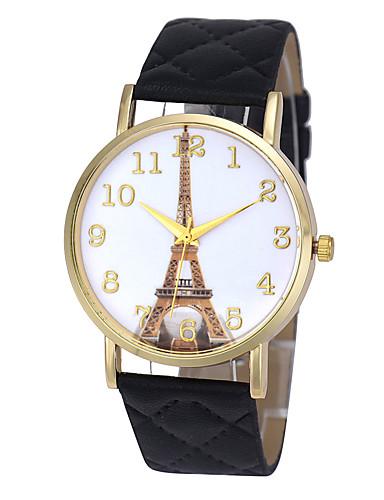 Herren Damen Paar Modeuhr Armbanduhr Quartz Punk Mehrfarbig Großes Ziffernblatt PU BandVintage Karton Süßigkeit Eiffelturm Böhmische