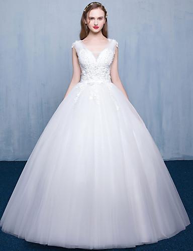 Prinzessin Hochzeitskleid Boden-Länge V-Ausschnitt Spitze Tüll mit