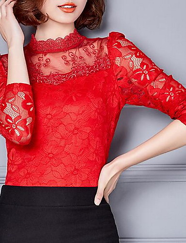 billige Dametopper-Store størrelser Skjorte Dame - Ensfarget Gatemote Lilla / Silke / Blonder