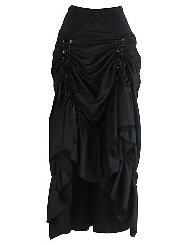 Damen Übergrössen Röcke,Bodycon einfarbig Gefaltet,Ausgehen Lässig/Alltäglich Sexy Vintage Hohe Hüfthöhe Knielänge Kordelzug Baumwolle