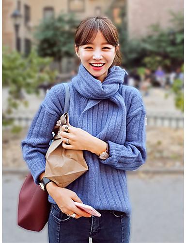 Damen Standard Pullover-Lässig/Alltäglich Einfach Solide Rundhalsausschnitt Langarm Baumwolle Winter Mittel Mikro-elastisch