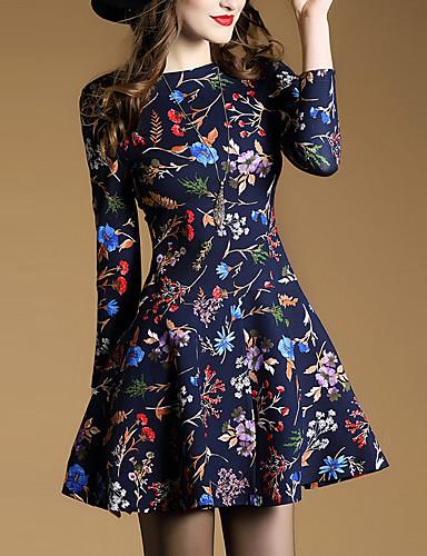 Damen A-Linie Kleid-Ausgehen Anspruchsvoll Druck Rundhalsausschnitt Übers Knie ¾-Arm Blau Polyester Frühling Mittlere Hüfthöhe