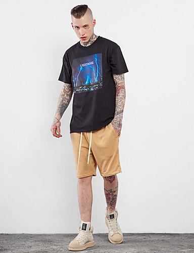 Herren Solide Einfach Formal T-shirt,Rundhalsausschnitt Alle Saisons Kurzarm Baumwolle Mittel