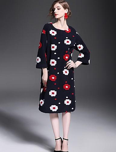 Damen Geometrisch Einfach Street Schick Lässig/Alltäglich Mantel,Herbst Rundhalsausschnitt ¾-Arm Mehrfarbig Dick Polyester