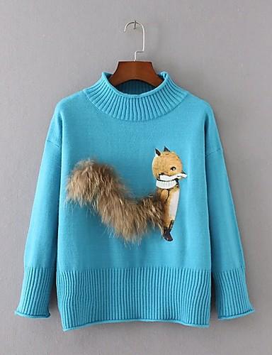 Damen Standard Pullover-Ausgehen Lässig/Alltäglich Einfach Street Schick Patchwork Rundhalsausschnitt LangarmKunst-Pelz Acryl Polyester