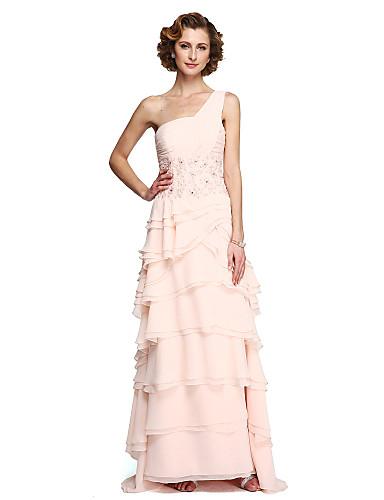 Linha A Assimétrico Longo Chiffon / Renda Vestido Para Mãe dos Noivos com Miçangas / Apliques / Franzido de LAN TING BRIDE®