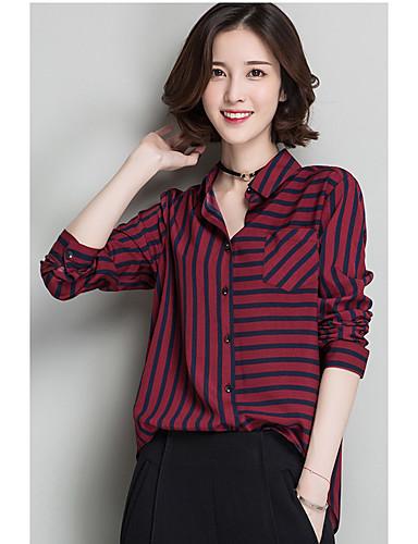 Damen Gestreift Retro Einfach Lässig/Alltäglich Ausgehen Hemd,Hemdkragen Frühling Langarm Blau Rot Braun Polyester Undurchsichtig