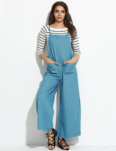 Dame Bukser-Street I-byen-tøj Ensfarvet Bomuld Mikroelastisk Efterår