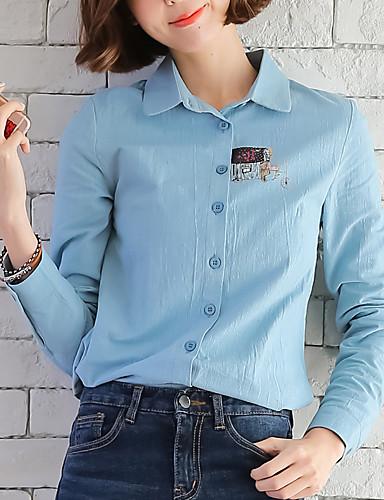 Damen Solide - Freizeit Arbeit Baumwolle Hemd, Hemdkragen / Frühling / Herbst