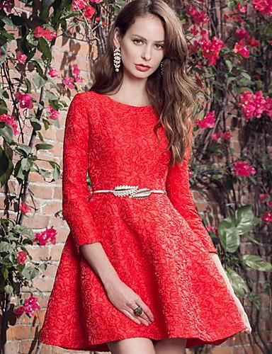 Damen Spitze Kleid-Lässig/Alltäglich Einfach Solide Rundhalsausschnitt Übers Knie Polyester Frühling Mittlere Hüfthöhe Unelastisch Mittel