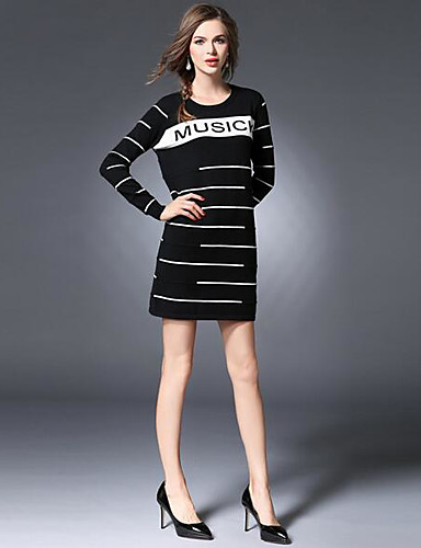 Damen Hülle Kleid-Lässig/Alltäglich Einfach Gestreift Rundhalsausschnitt Mini Langarm Schwarz Polyester Frühling Sommer Mittlere Hüfthöhe