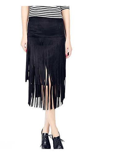 Damen Röcke,Bodycon einfarbigLässig/Alltäglich Tiefe Hüfthöhe Midi Elastizität Others Micro-elastisch Herbst