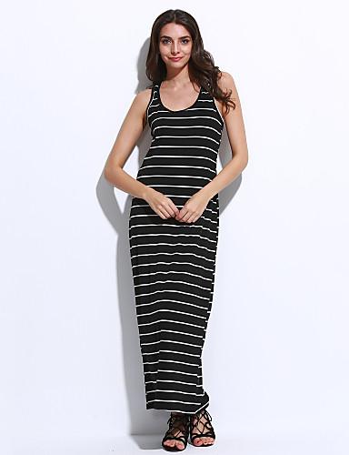 Kadın Günlük Günlük Bandaj Elbise Çizgili,Kolsuz Düşük Omuz Midi Pamuklu Yaz Normal Bel Mikro-Esnek İnce