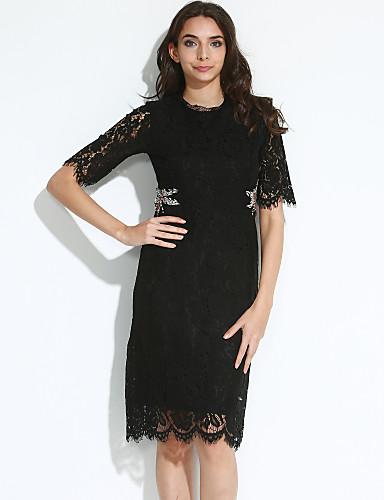 Mujer Noche Sofisticado Vaina Vestido Un Color Hasta la Rodilla Negro
