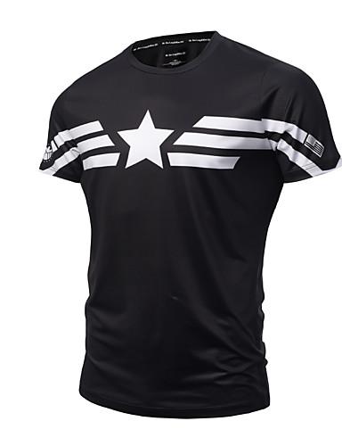 Bomull Tynn Rund hals T-skjorte Herre - Geometrisk, Trykt mønster Aktiv / Punk & Gotisk Sport / Kortermet