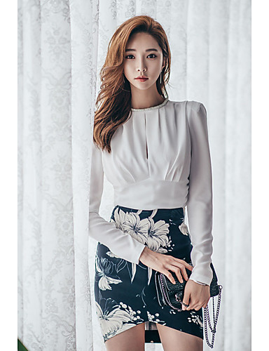 Damen A-Linie Kleid-Lässig/Alltäglich Einfach Gestreift Druck Rundhalsausschnitt Mini Langarm Weiß Baumwolle Herbst Mittlere Hüfthöhe