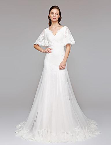 Linha A Decote V Cauda Corte Renda / Tule Vestidos de casamento feitos à medida com Lantejoulas / Apliques / Botão de LAN TING BRIDE®