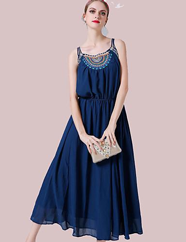 Damen Chiffon Kleid-Lässig/Alltäglich Einfach Stickerei Gurt Knielang Ärmellos Polyester Sommer Hohe Hüfthöhe Mikro-elastisch Mittel