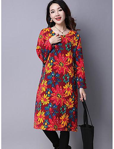 Damen Hülle Kleid-Lässig/Alltäglich Einfach Blumen Rundhalsausschnitt Maxi Langarm Kunstseide Herbst Winter Mittlere Hüfthöhe